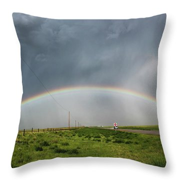 Stormy Rainbow Throw Pillow by Ryan Crouse