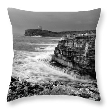 Throw Pillow featuring the photograph stormy sea - Slow waves in a rocky coast black and white photo by pedro cardona by Pedro Cardona