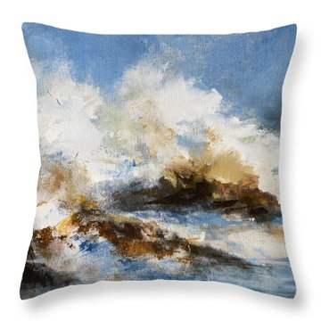 Throw Pillow featuring the painting Stormy Sea by Diane White