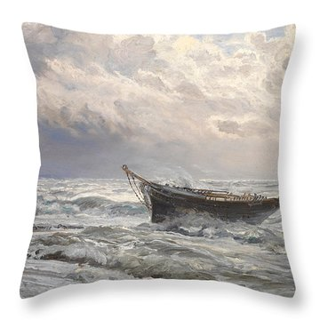 Stormy Seas Throw Pillow by Henry Moore