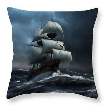 Stormy Seas - Nautical Art Throw Pillow