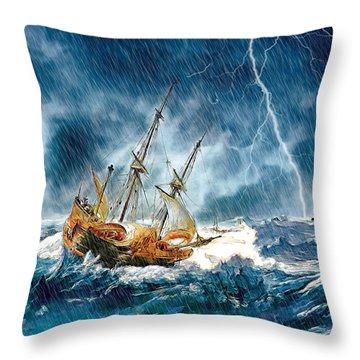 Throw Pillow featuring the digital art Stormy Seas by Pennie McCracken