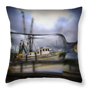 Stormy Seas - Ship In A Bottle Throw Pillow