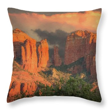 Stormy Sedona Sunset Throw Pillow
