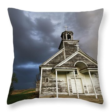 Stormy Sk Church Throw Pillow
