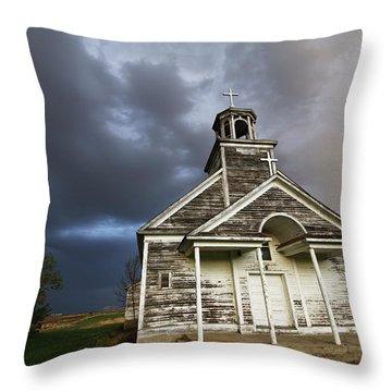 Stormy Sk Church Throw Pillow
