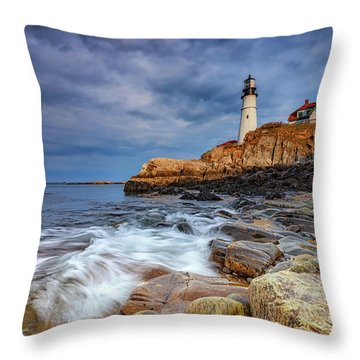 Stormy Skies At Portland Head Throw Pillow