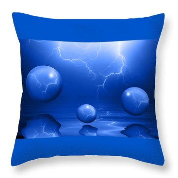 Stormy Skies - Blue Throw Pillow