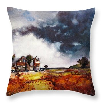 Throw Pillow featuring the painting Stormy Skies by Geni Gorani