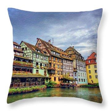 Stormy Skies In Strasbourg Throw Pillow by Carol Japp