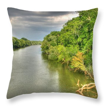 Stormy Skies Over The Coosa River Throw Pillow