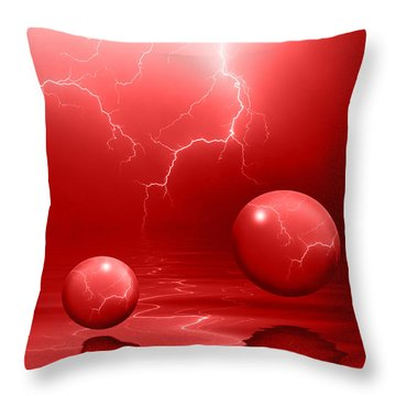 Stormy Skies - Red Throw Pillow