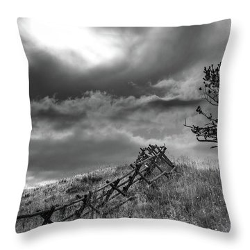 Stormy Sky At The Ranch Throw Pillow