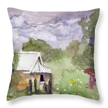 Stormy Sky In The Creek Throw Pillow