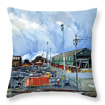 Stormy Sky Over Shipyard And Steel Mill Throw Pillow by Asha Carolyn Young