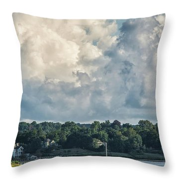 Stormy Sunday Morning On The Navesink River Throw Pillow by Gary Slawsky