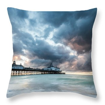 Stormy Sunrise Over Eastbourne Pier Throw Pillow