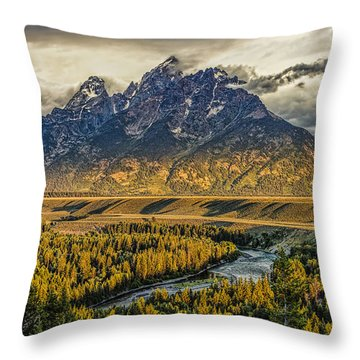 Stormy Sunrise Over The Grand Tetons And Snake River Throw Pillow