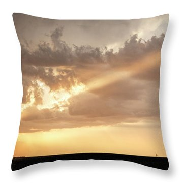 Throw Pillow featuring the photograph Stormy Sunset And Windmill 01 by Rob Graham