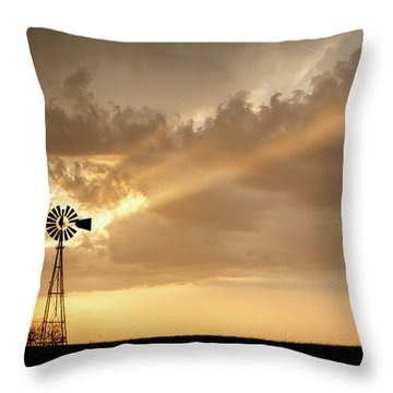 Throw Pillow featuring the photograph Stormy Sunset And Windmill 02 by Rob Graham