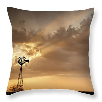Throw Pillow featuring the photograph Stormy Sunset And Windmill 03 by Rob Graham