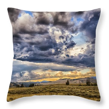 Stormy Sunset At Blacktail Plateau Throw Pillow
