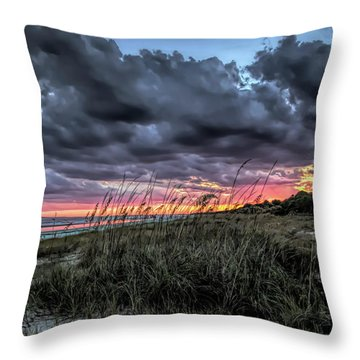 Stormy Sunset On Hilton Head Throw Pillow