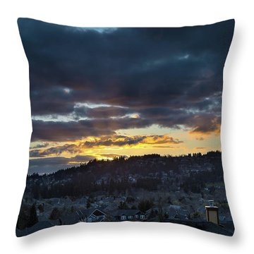 Stormy Sunset Over Happy Valley Oregon Throw Pillow by David Gn