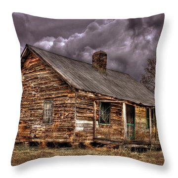 Throw Pillow featuring the photograph Stormy Times Tenant House Greene County Georgia Art by Reid Callaway
