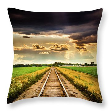 Stormy Tracks Throw Pillow