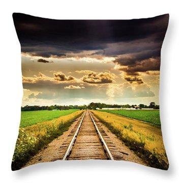 Stormy Tracks Throw Pillow