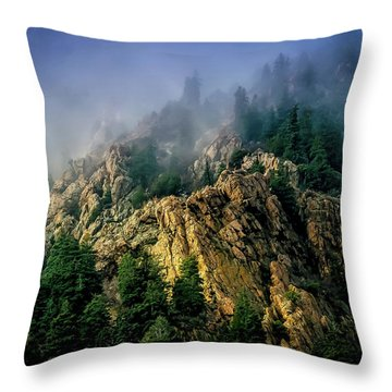 Stormy Wasatch- Fog Throw Pillow