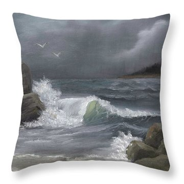 Stormy Waters Throw Pillow by Sheri Keith
