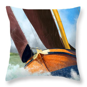 Stormy Weather Skutsje Sailing Ship Throw Pillow