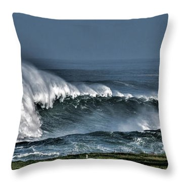 Stormy Winter Waves Throw Pillow