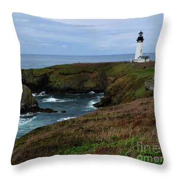 Stormy Yaquina Head Lighthouse Throw Pillow