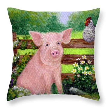 Storybook Pig Throw Pillow