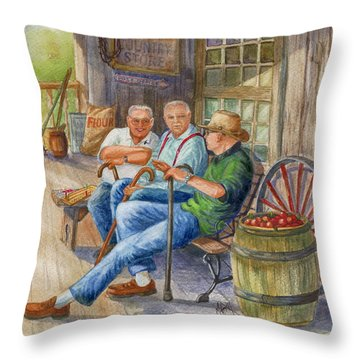 Throw Pillow featuring the painting Storyteller Friends by Marilyn Smith