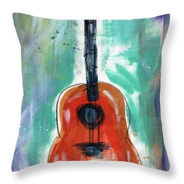 Storyteller's Guitar Throw Pillow by Linda Woods