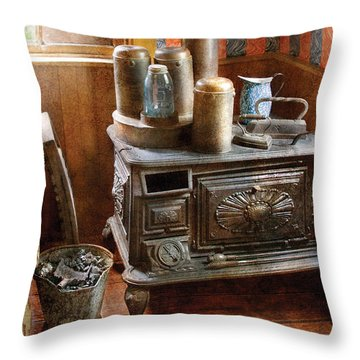 Stove - Remember The Good Ol Days When  Throw Pillow by Mike Savad