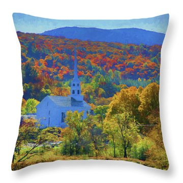Throw Pillow featuring the photograph Stowe Vermont Church In Fall by Jeff Folger