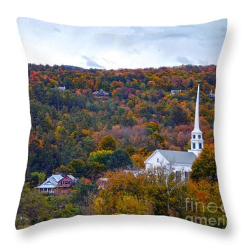 Stowe Vermont In Autumn Throw Pillow by Catherine Sherman