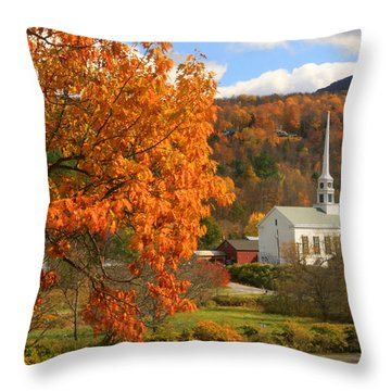 Stowe Vermont In Autumn Throw Pillow by John Burk