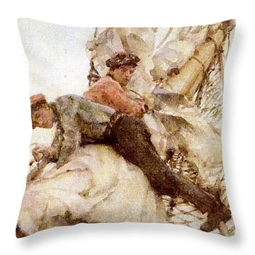 Throw Pillow featuring the painting Stowing The Headsails  by Henry Scott Tuke
