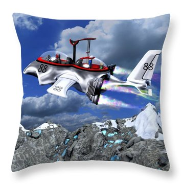 Throw Pillow featuring the painting Stowing The Lift by Dave Luebbert