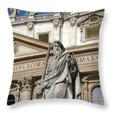 St.peter Statue At The Vatican Throw Pillow