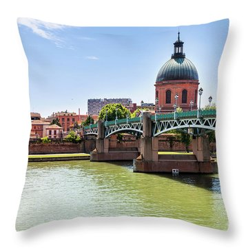 Throw Pillow featuring the photograph St.pierre Bridge In Toulouse by Elena Elisseeva