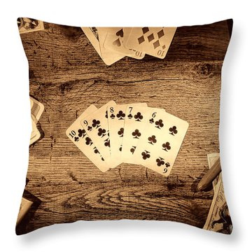 Straight Flush Throw Pillow