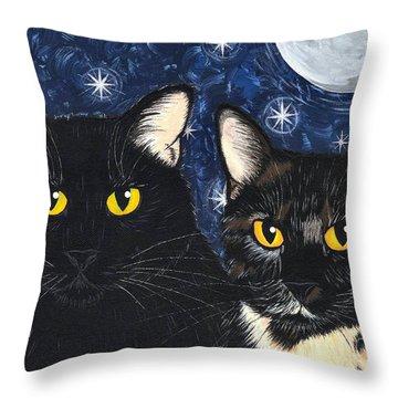 Strangeling's Felines - Black Cat Tortie Cat Throw Pillow