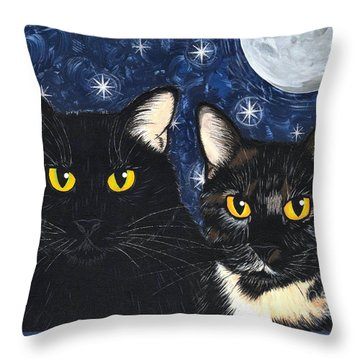 Strangeling's Felines - Black Cat Tortie Cat Throw Pillow